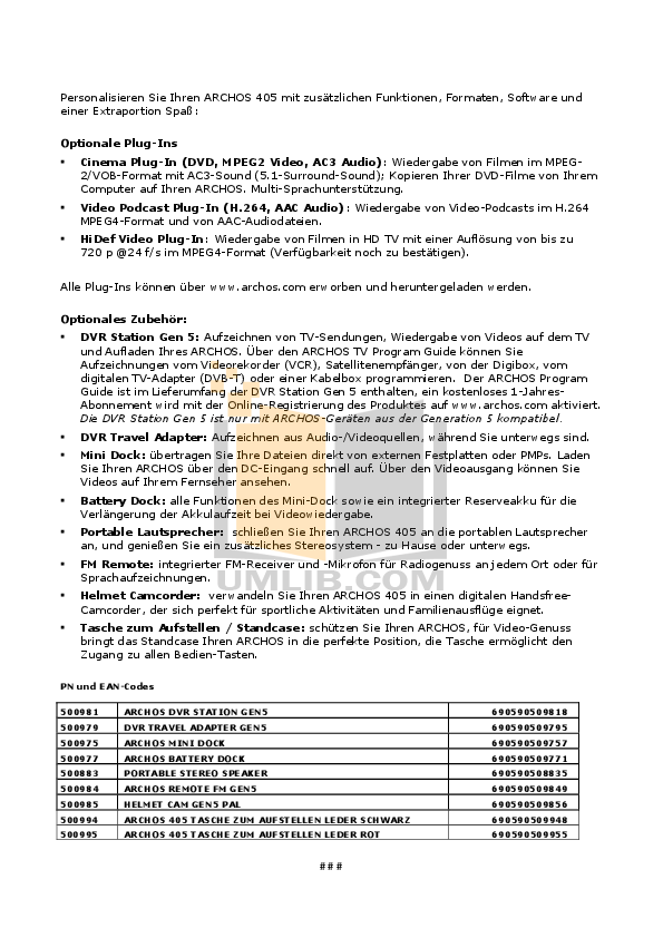 Archos Speaker 500883 pdf page preview