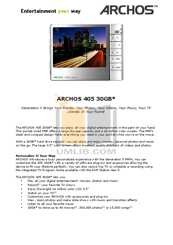 pdf for Archos Speaker 500883 manual