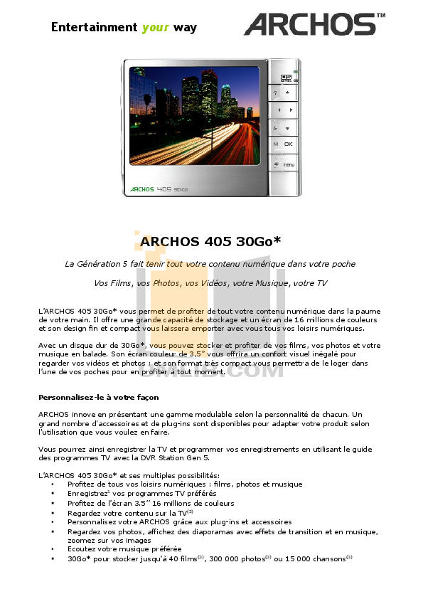 Archos Speaker 500883 pdf page preview