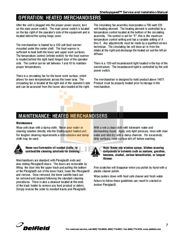 Delfield Refrigerator Shelleyspeed SPRD36P-36N pdf page preview