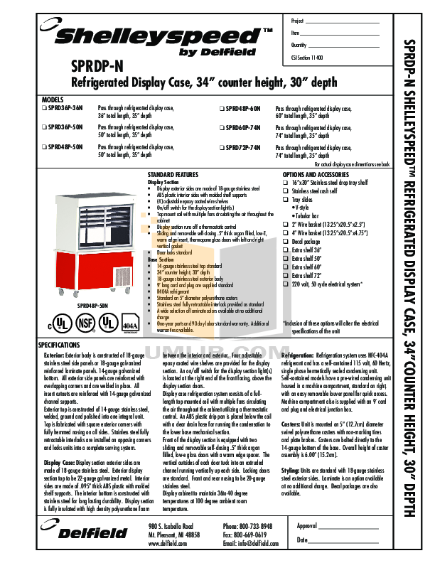 pdf for Delfield Refrigerator Shelleyspeed SPRD36P-36N manual