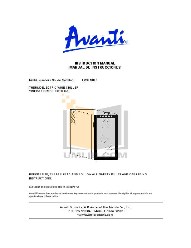 pdf for Avanti Refrigerator EWC18DZ manual