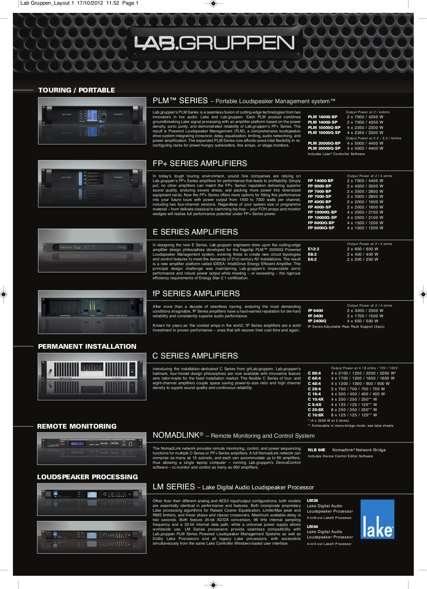 pdf for Lab.gruppen Amp C Series C 10 8X manual