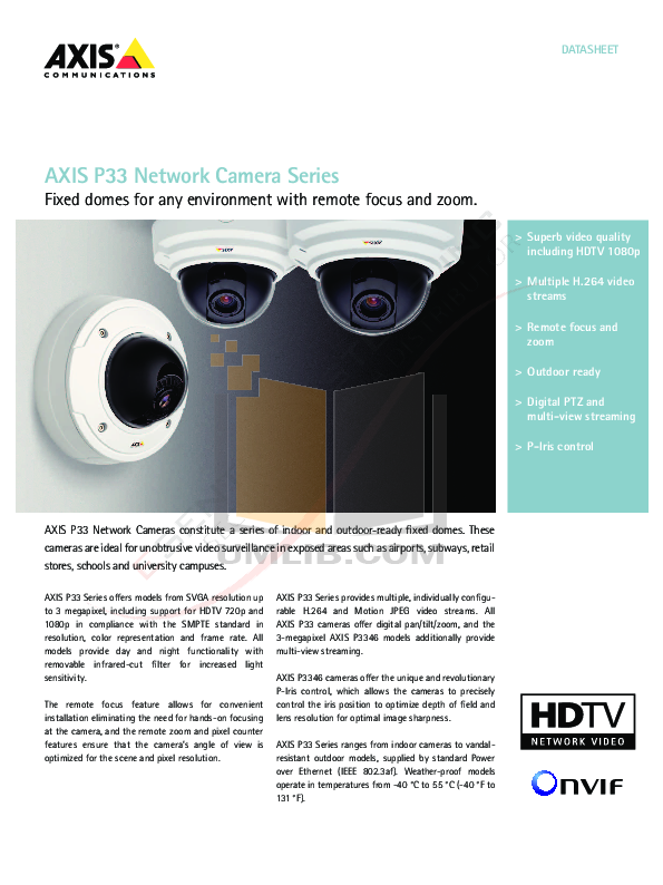 pdf for Axis Security Camera P3344-VE manual