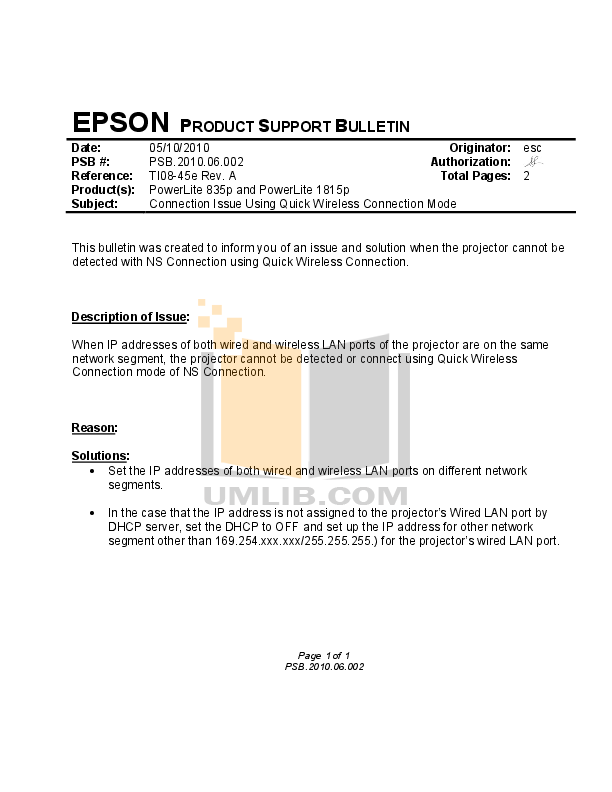 pdf for Epson Projector PowerLite 1725 manual
