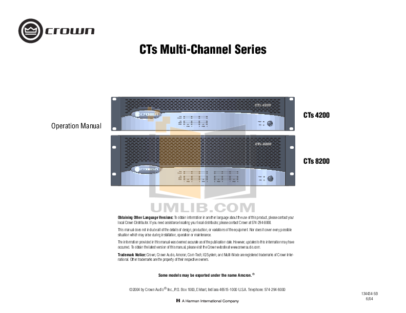 pdf for Crown Other IQ-MC4 IQ control modules manual