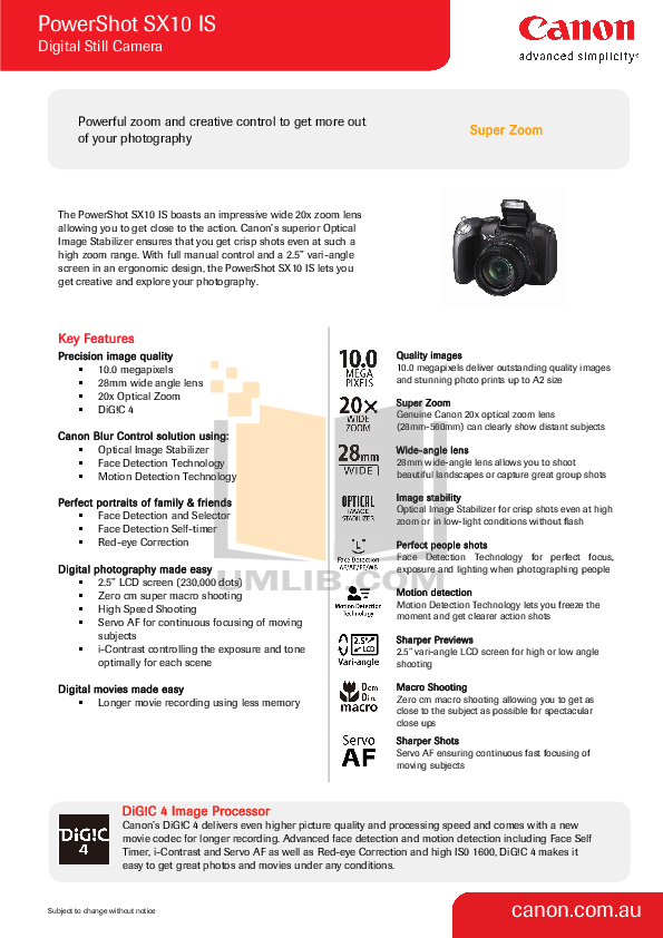 pdf for Canon Digital Camera Powershot SX10 IS manual