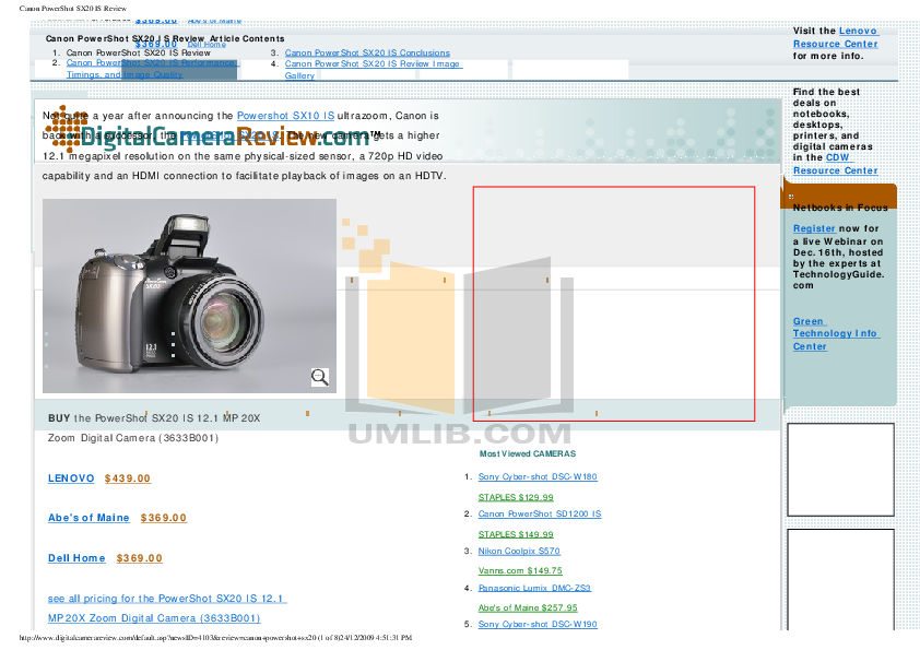 Download free pdf for Canon Powershot SX10 IS Digital Camera