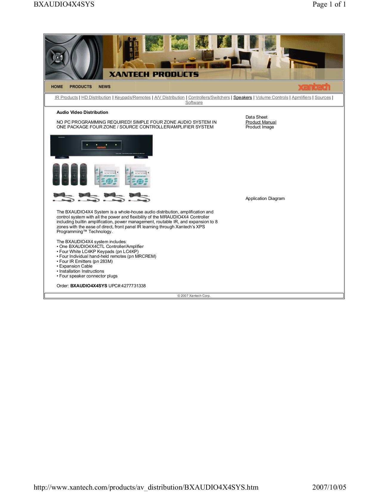 pdf for Xantech Amp BXAUDIO4X4 manual