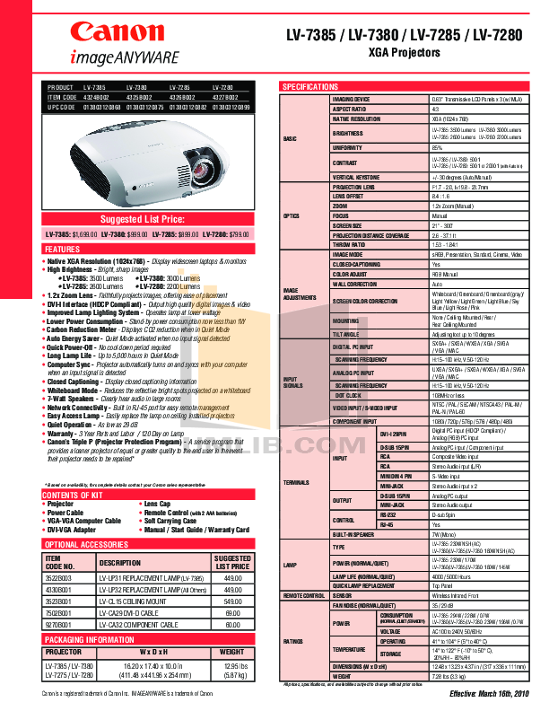 pdf for Canon Projector LV-7385 manual