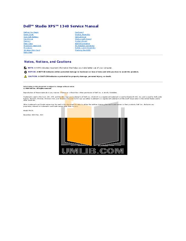 pdf manual for dell laptop studio xps 1340 rh umlib com Dell Studio XPS Wallpaper dell studio xps 1340 user manual