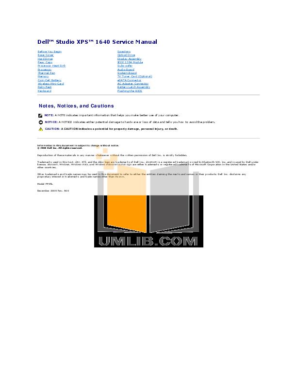 download free pdf for dell studio xps 1340 laptop manual rh umlib com Dell Studio XPS Laptop dell studio xps 1340 repair manual