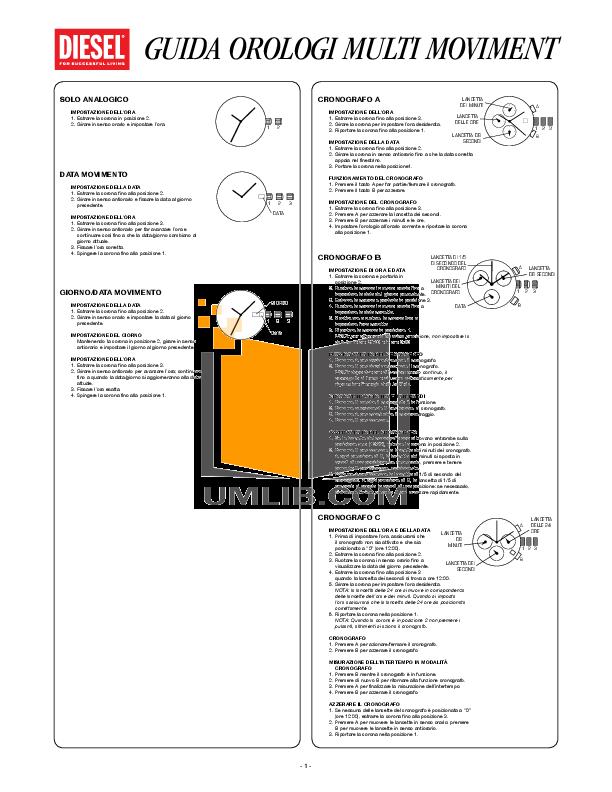 pdf for Diesel Watch DZ7174 manual
