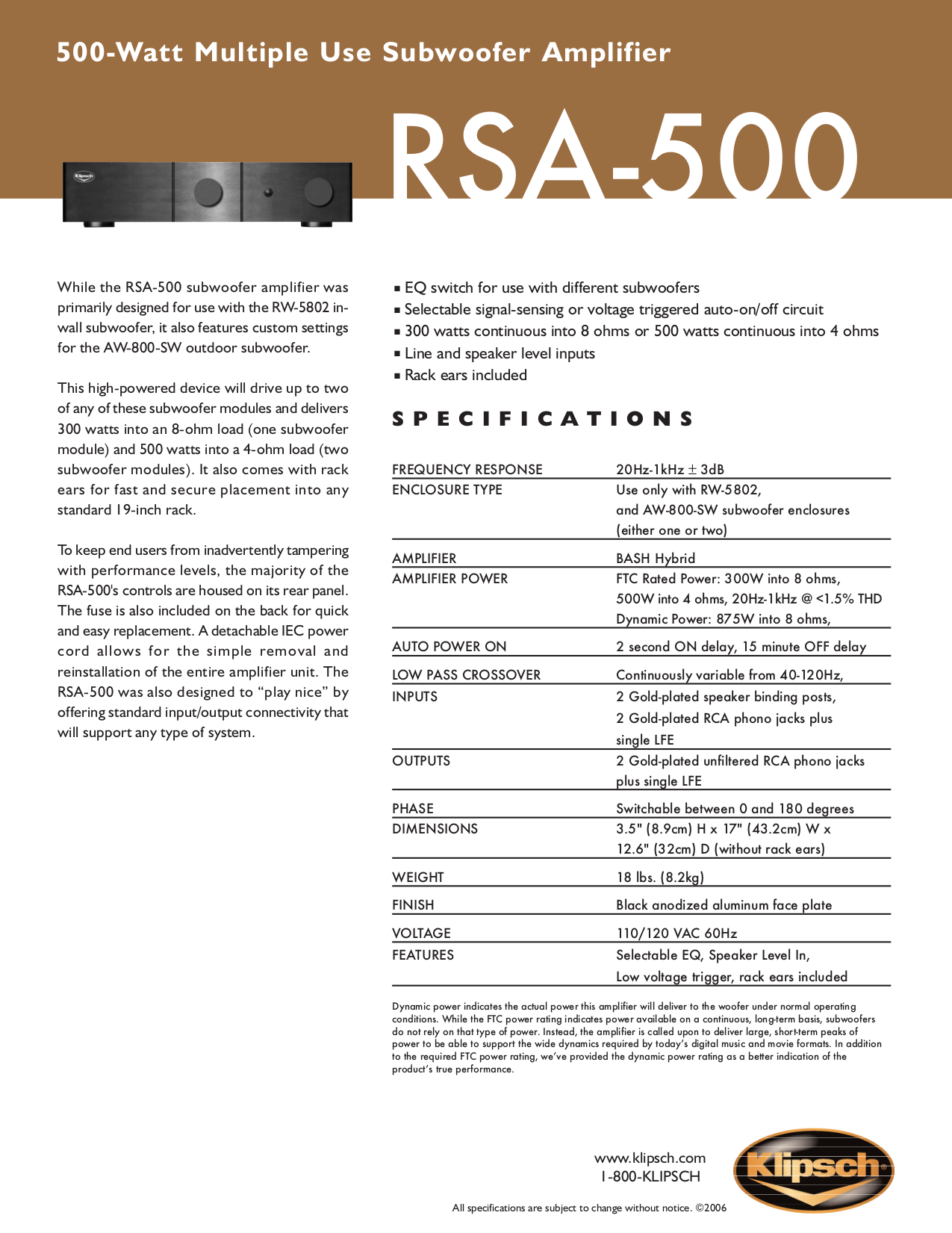pdf for Klipsch Subwoofer AW-800-SW manual