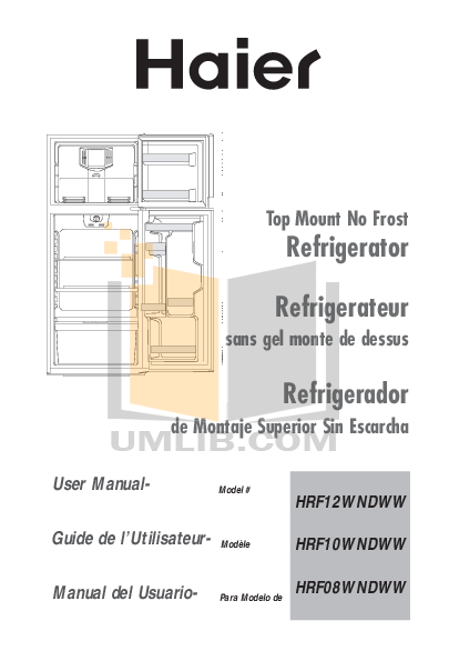 pdf for Haier Refrigerator HRF08WNDWW manual