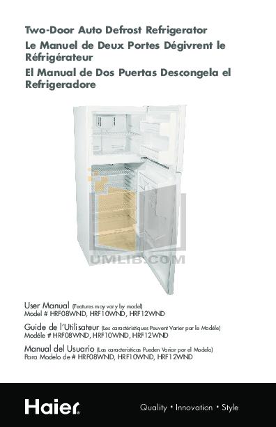 pdf for Haier Refrigerator HRF08WNDWW manual