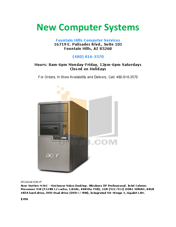 pdf for Acer Desktop Veriton M261 manual