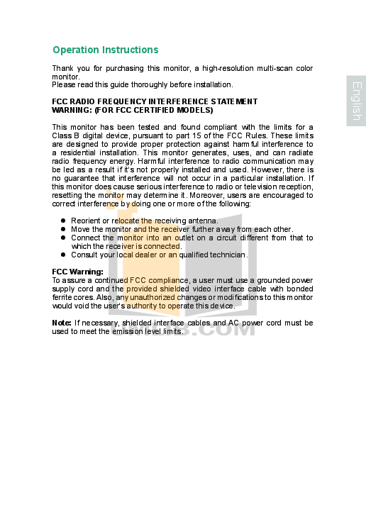 pdf for Envision Monitor H22W manual