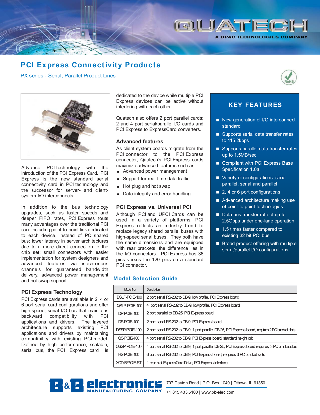 pdf for Quatech Other QSLP-PCIE-100 PCI Express Devices manual