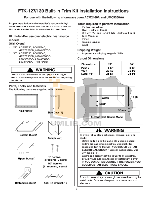 pdf for Amana Oven AEW3530DD manual