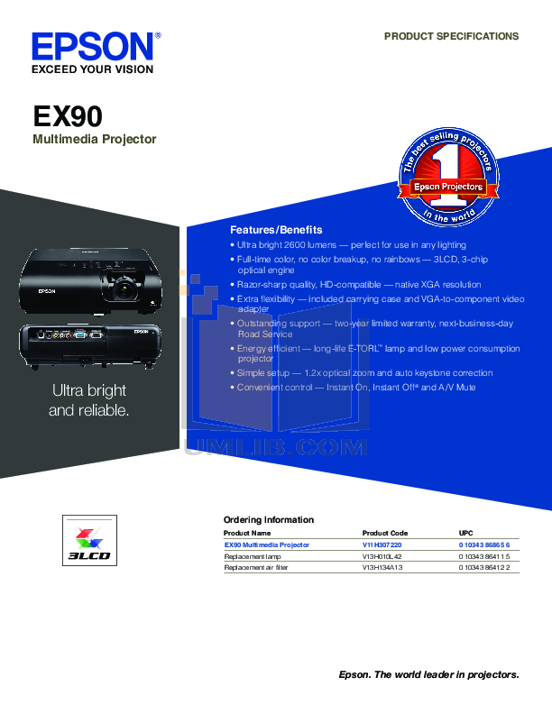 pdf for Epson Projector EX90 manual