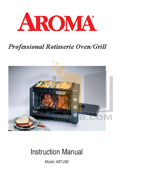 pdf for Aroma Oven ABT-285 manual