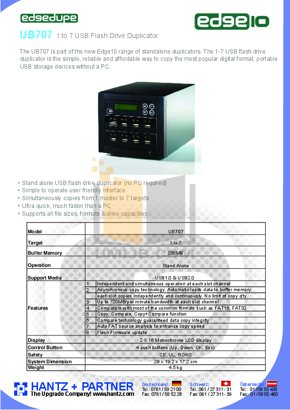 pdf for Edge10 Other EdgeDupe UB707 USB Copier manual