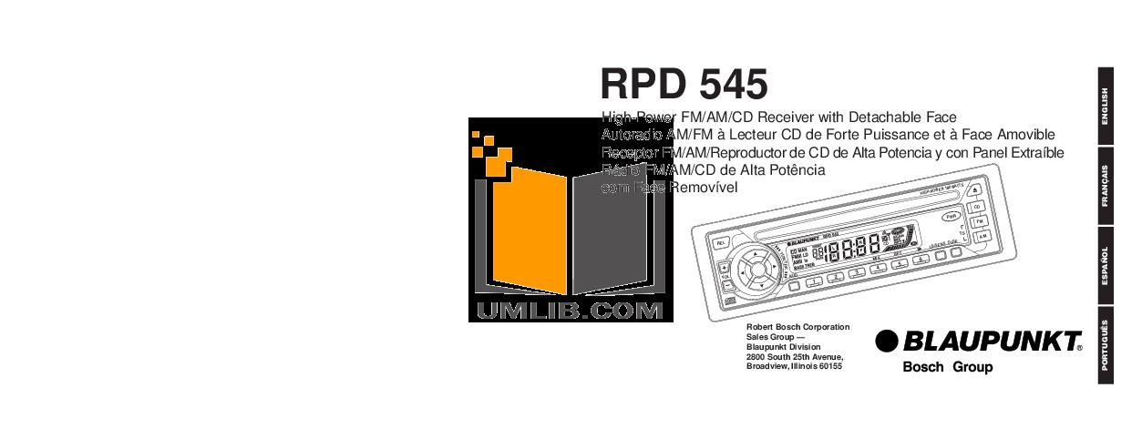 pdf for Blaupunkt Other RPD545 Car-audio manual