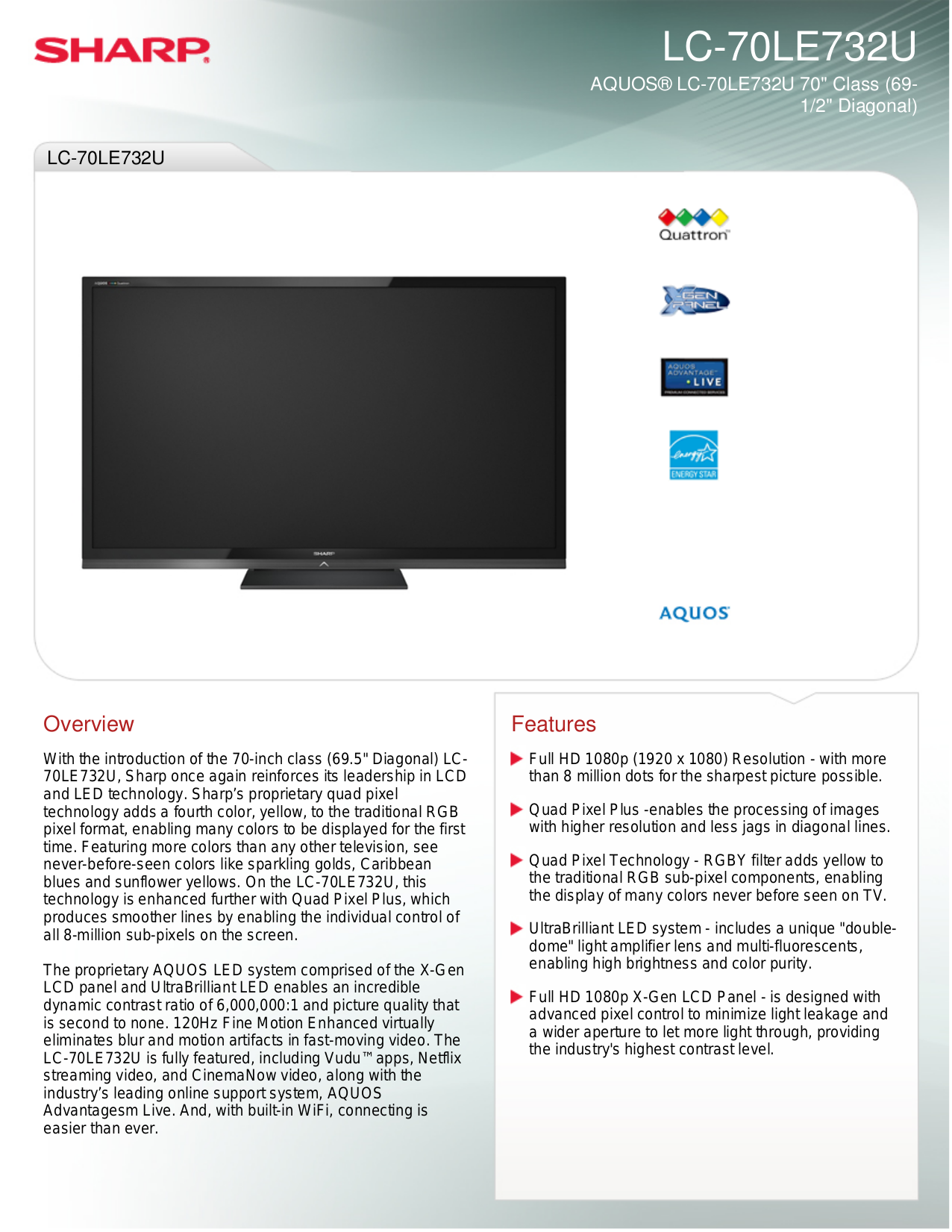 pdf for Sharp TV AQUOS LC-70LE732U manual