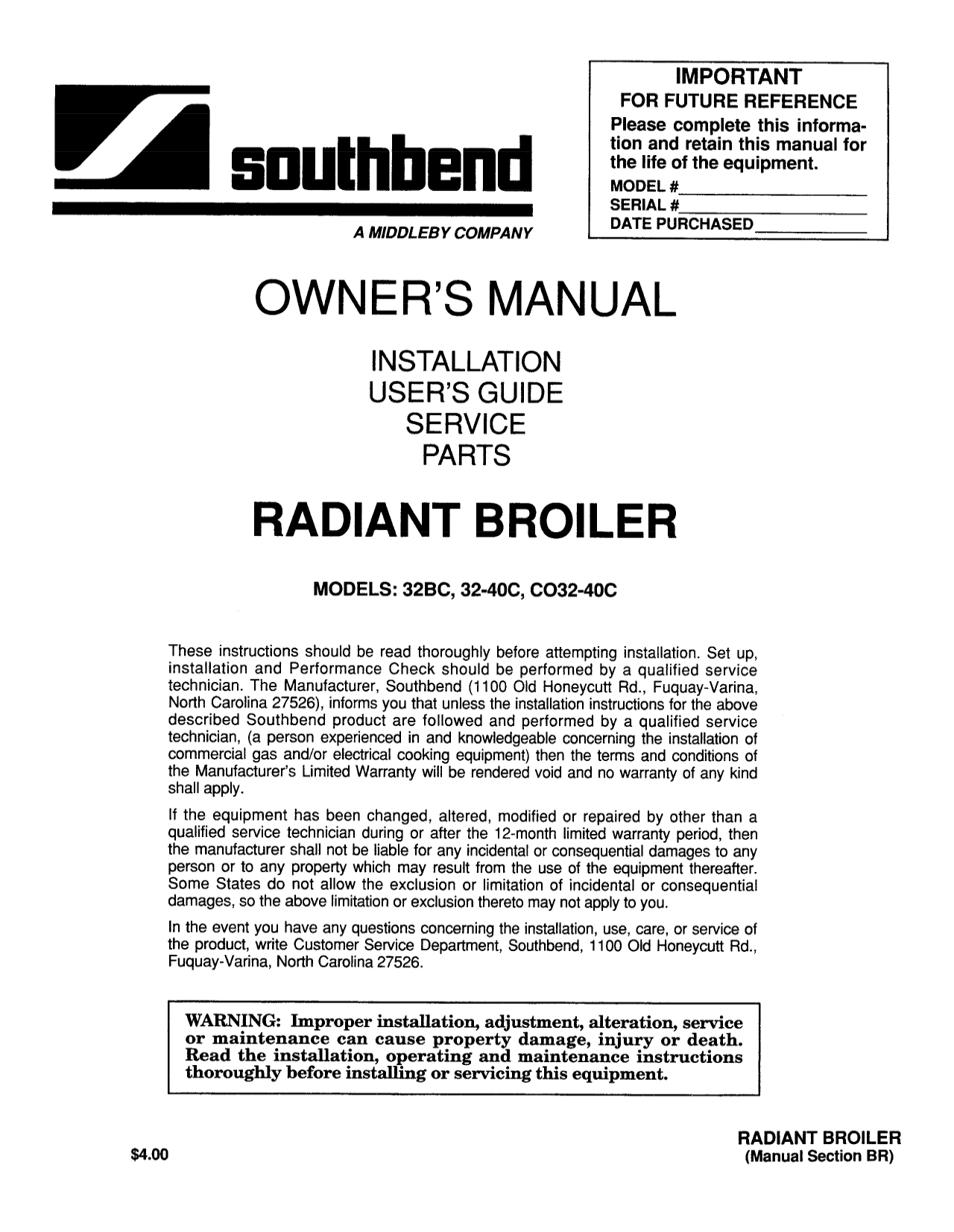 pdf for Southbend Other 32BC Broilers manual