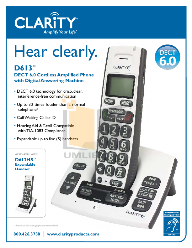 pdf for Clarity Telephone D613 manual