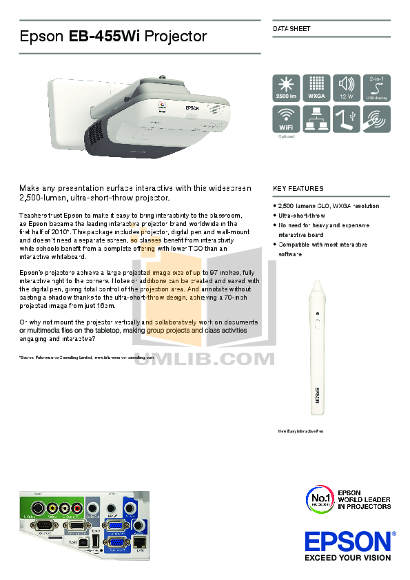 pdf for Epson Projector 455Wi manual