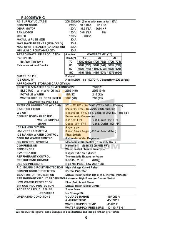 Hoshizaki Other F-2000MWH Modular Flakers pdf page preview