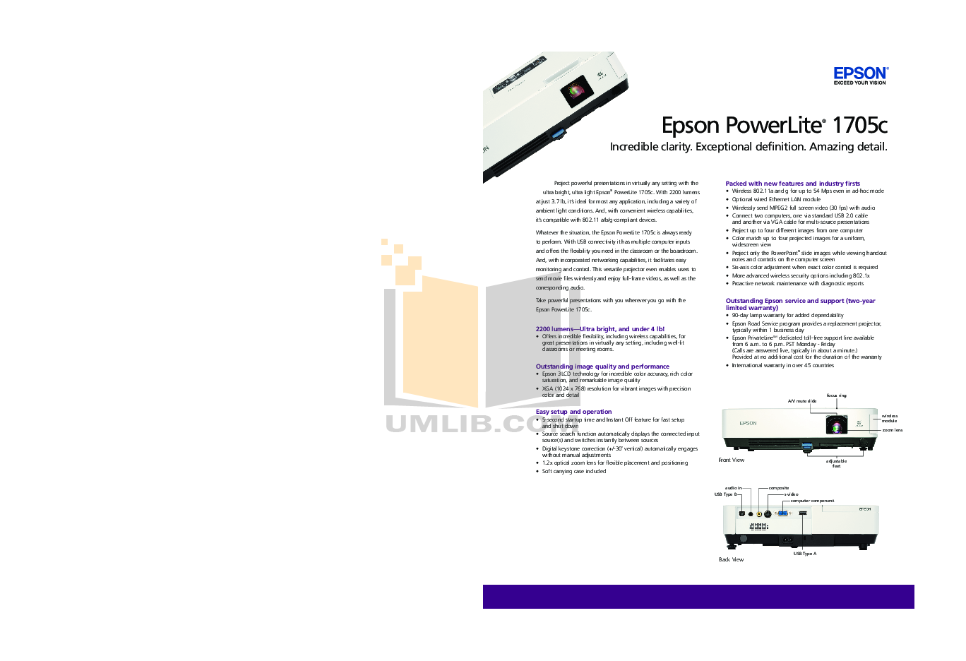 pdf for Epson Projector PowerLite 1705c manual