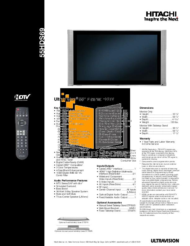 download free pdf for hitachi 55hds69 tv manual rh umlib com Flat Screen TV 2006 Hitachi Flat Screen T V