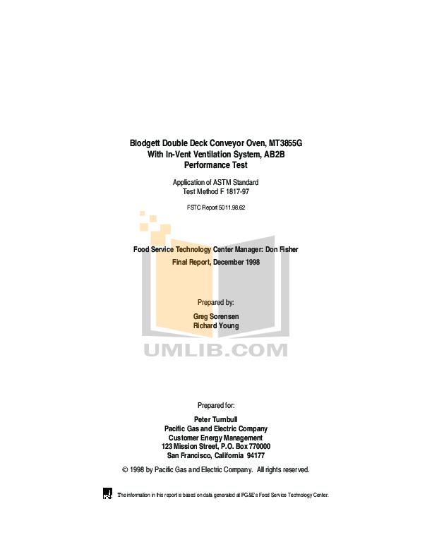 pdf for Blodgett Oven SHO-E-SINGLE manual