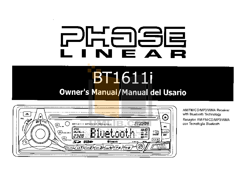 pdf for Audiovox Car Receiver BT1611i manual