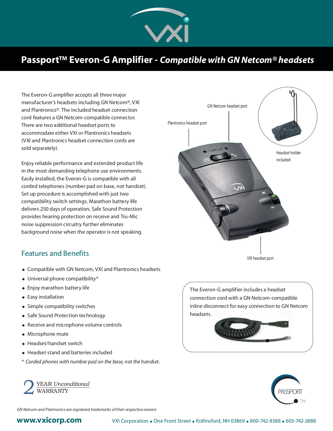 pdf for VXI Amp Passport Everon-G manual