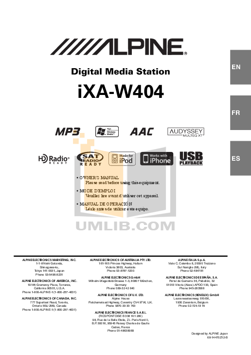 pdf for Alpine Car Video iXA-W404 manual
