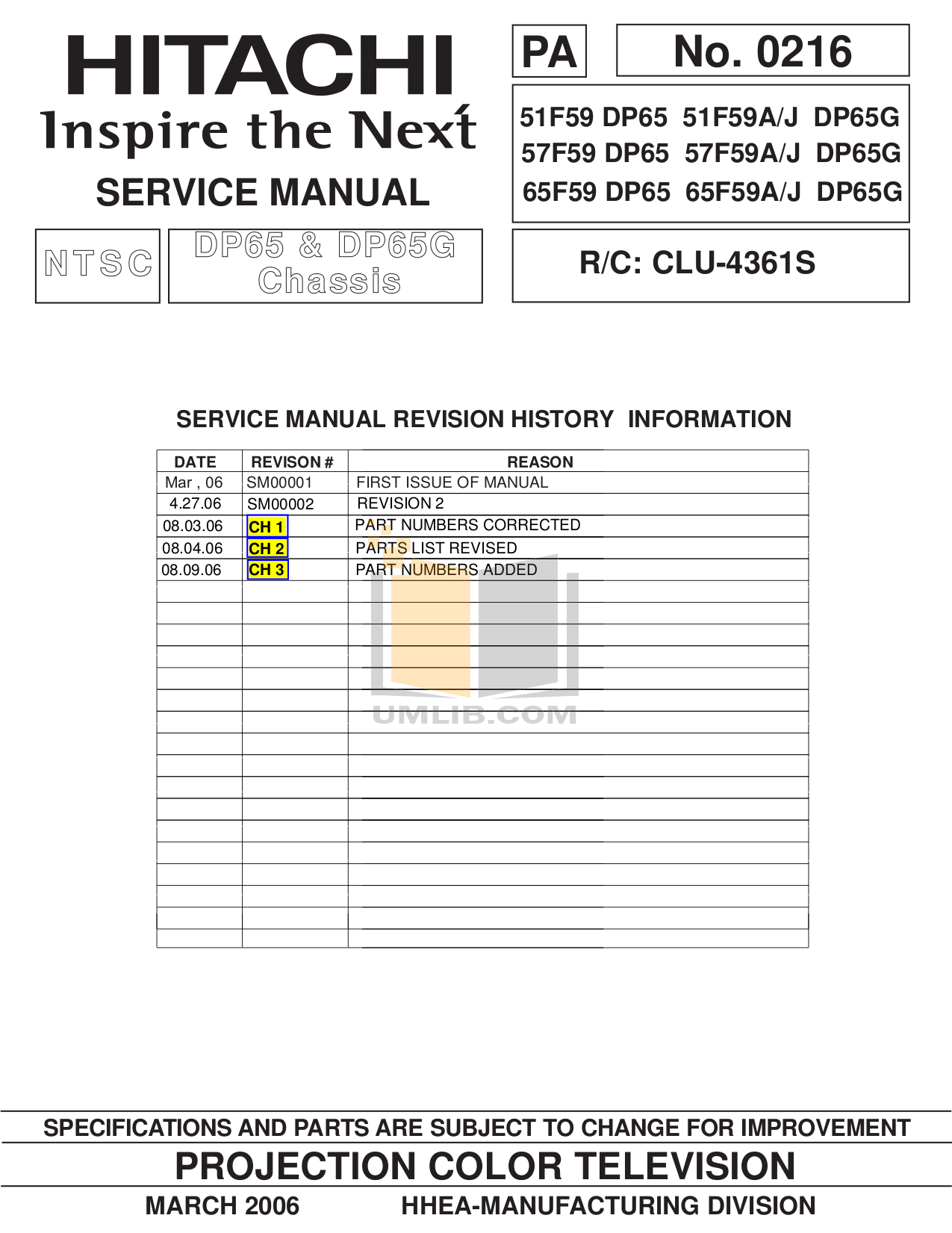 pdf for Hitachi TV 57F59A manual
