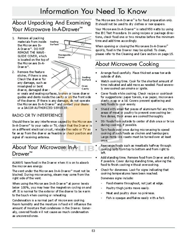 Dacor Microwave MMD30 pdf page preview