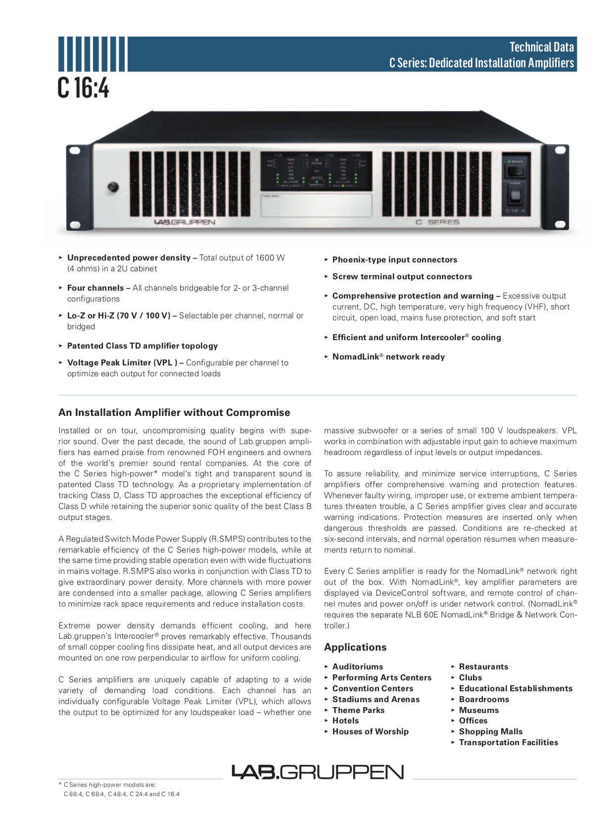 pdf for Lab.gruppen Amp C Series C 16 4 manual