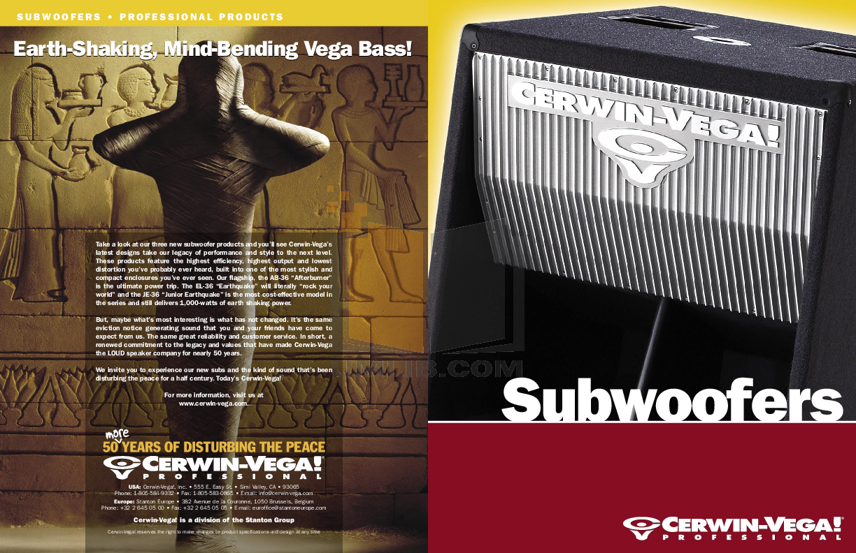pdf for Cerwin-Vega Subwoofer JE-36B manual