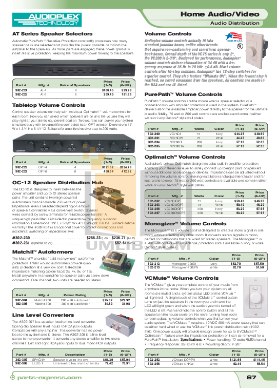 pdf for Audioplex Other SR-4 Speaker Selectors manual