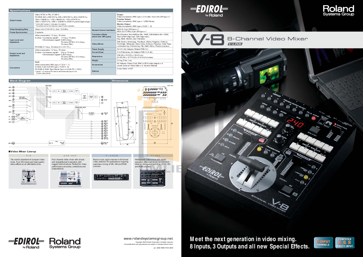 Download free pdf for edirol v-8 video mixers other manual.