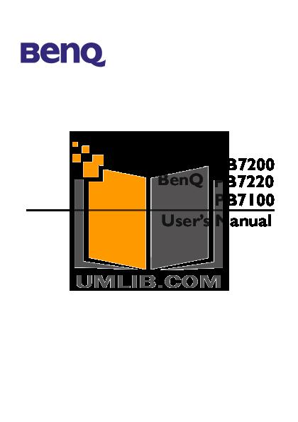 pdf for Benq Projector PB7220 manual