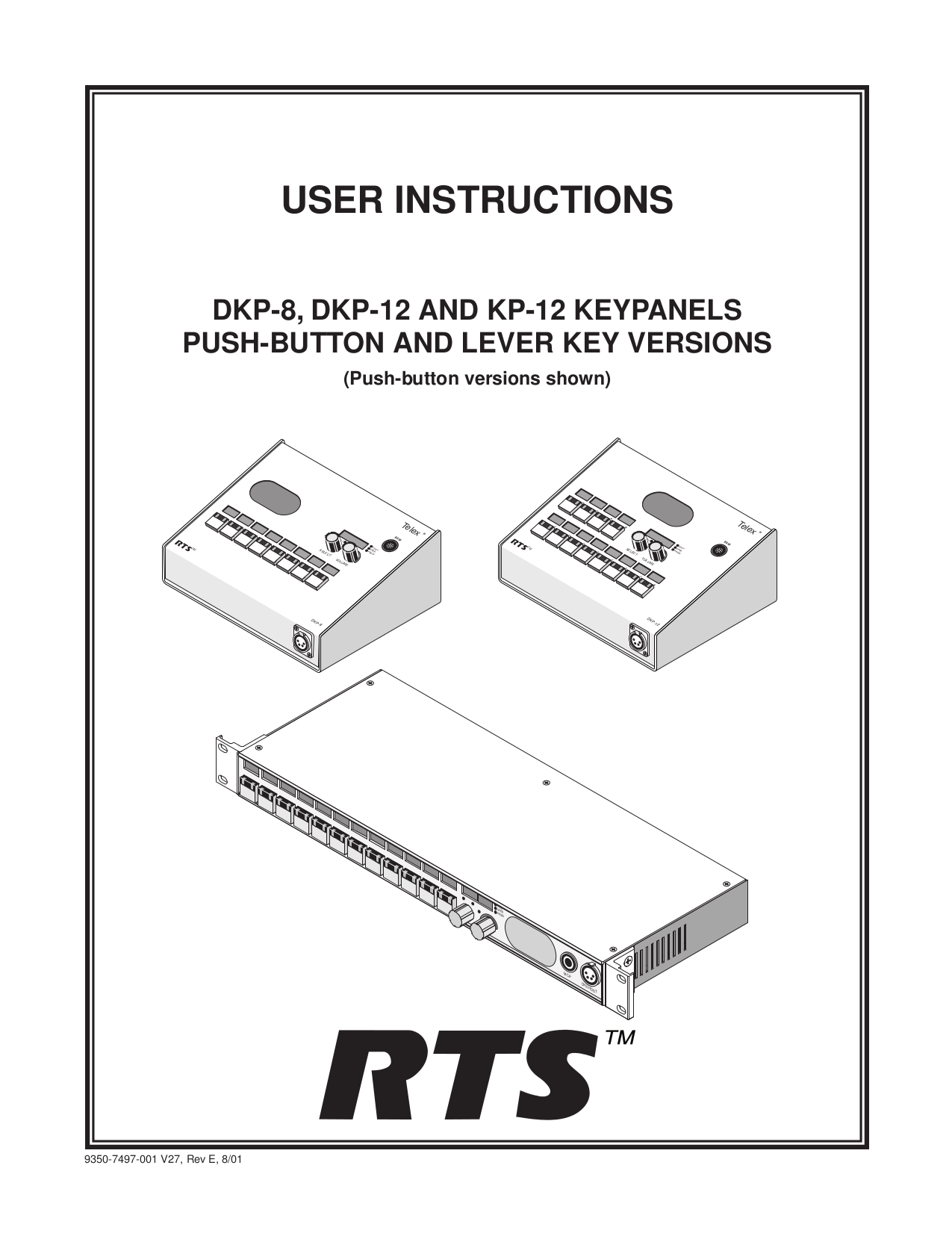 pdf for Telex Other EKP-632 Console Mount User Station manual