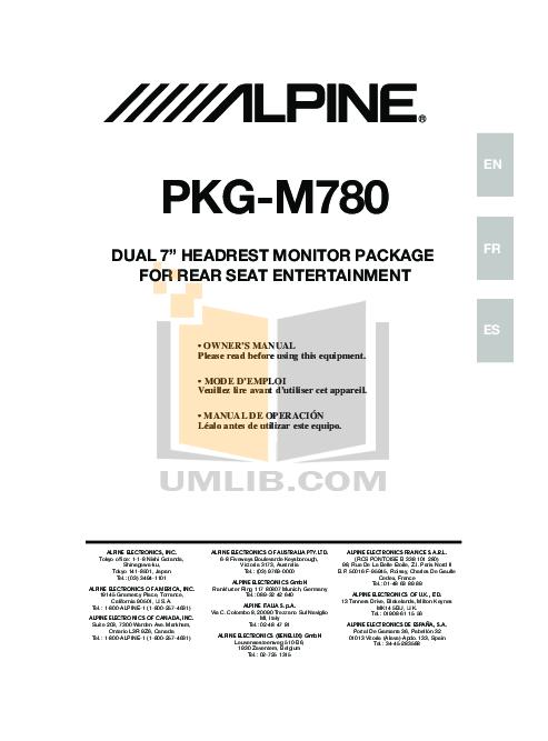 pdf for Alpine Car Video PKG-M780 manual