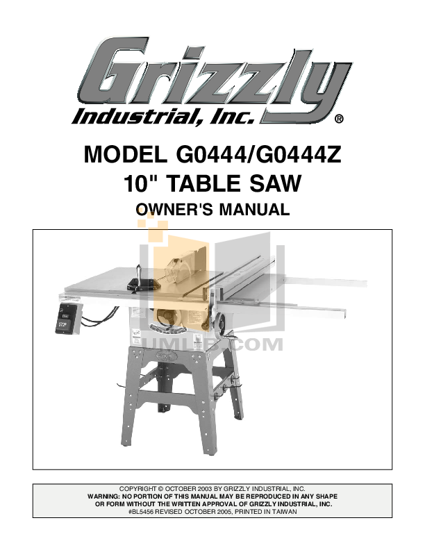 download free pdf for grizzly g0444 table saw other manual rh umlib com