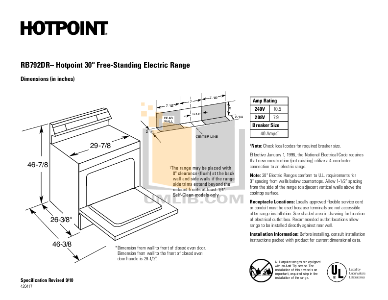 Hotpoint Range RB792DR pdf page preview
